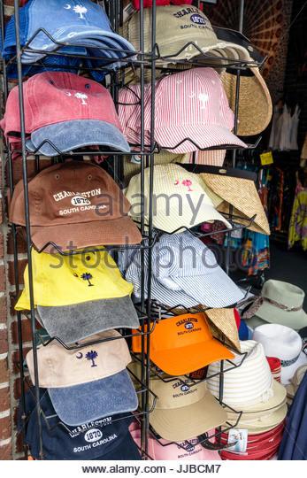 South Carolina Charleston SC Historic Downtown Charleston City Market shopping caps - Stock Image