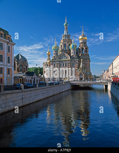 Church of the Resurrection, Griboedova Canal, St. Petersburg, Russia - Stock Image
