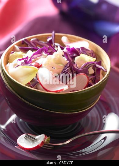 Crisp mixed salad - Stock Image