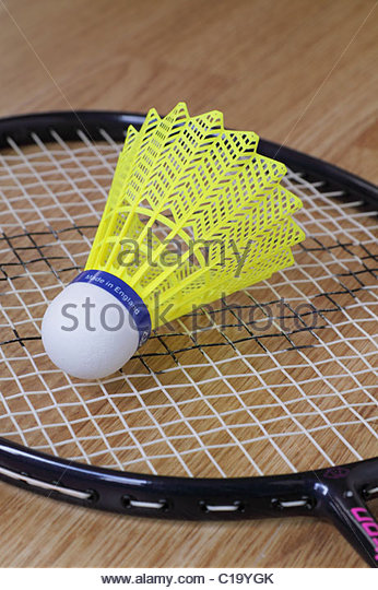Badminton shuttlecock and racket - Stock Image