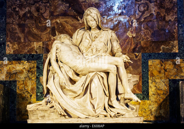 La Pietà (The Pity), statue made by Michelangelo, inside Saint Peter Basilica, Vatican City, Rome, Italy. - Stock Image