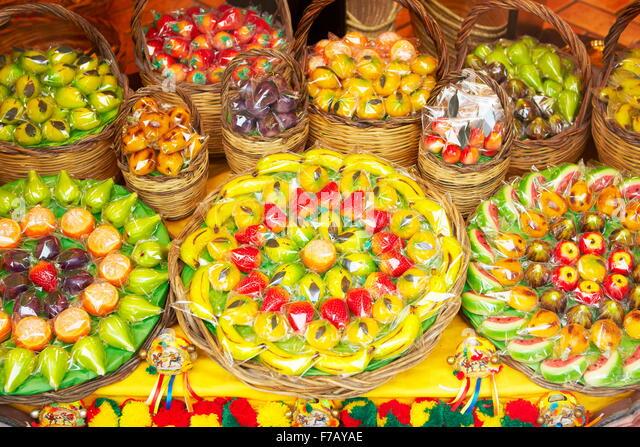 Typical sicilian marzipan fruits (frutta martorana), Syracuse, Sicily, Italy - Stock Image