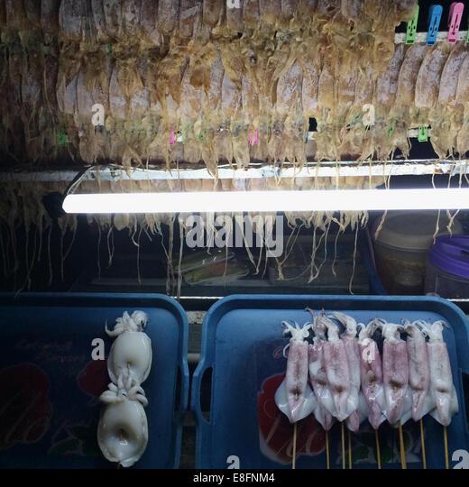 Thailand, Bangkok, Fish on market stall - Stock Image