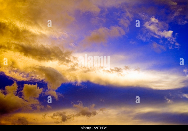 Surreal Clouds Sunset - Stock Image