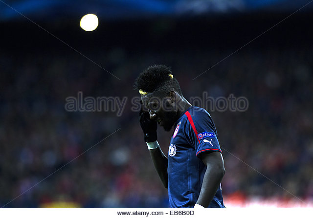 Madrid. 26th Nov, 2014. SPAIN, Madrid: Olympiacos French Defender Arthur Masuaku during the Champions League 2014/15 - Stock Image