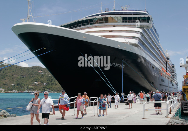 BVI Tortola Road Town Holland America Caribbean cruise ms Noordam dock passengers excursion - Stock Image