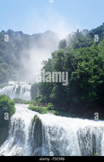 Marmore Wasterfall, Cascata della Marmore, Valneria Valley, Terni District, Umbria, Italy, Europe - Stock Image