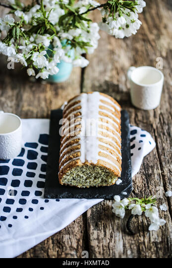 Poppy seeds and lemon loaf cake - Stock Image