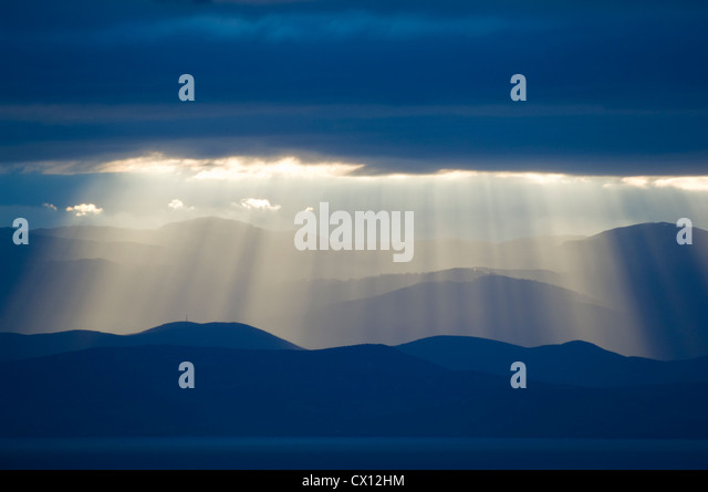 Panoramic mountain view at the Pagasitic Gulf (Pelion Peninsular, Thessaly, Greece) - Stock Image