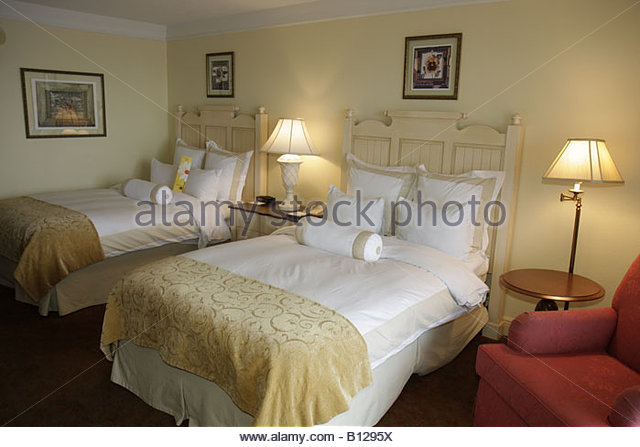 Point Clear Alabama Grand Hotel Marriott Resort hotel lodging guest room bed furniture - Stock Image