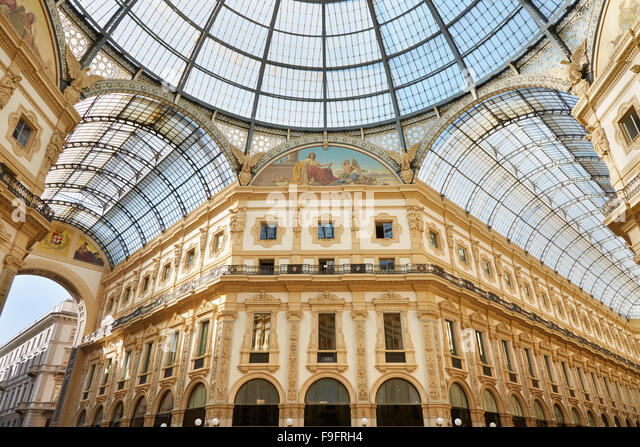 Milan, Vittorio Emanuele gallery interior view in a sunny day - Stock Image