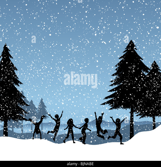 Silhouettes of children playing in the snow - Stock-Bilder