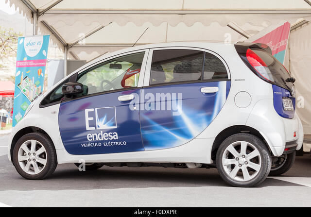 Peugeot Ion full electric car with Spanish power company Endesa logo on the side at a sustainable transport demo - Stock Image