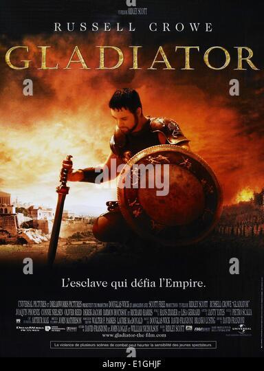 'Gladiator' a 2000 British-American epic historical drama film starring Russell Crowe, Joaquin Phoenix, - Stock Image