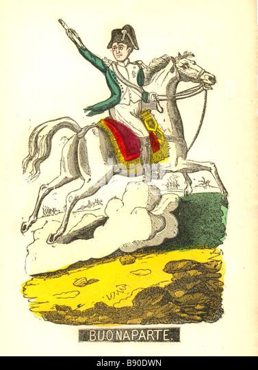 Handcoloured woodcut of Napoleon Buonaparte circa 1820 - Stock Image