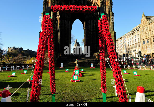 8 Nov 2012, Edinburgh, Scotland - Garden of Remembrance beside the Scott Monument in Princes Street Gardens marking - Stock Image