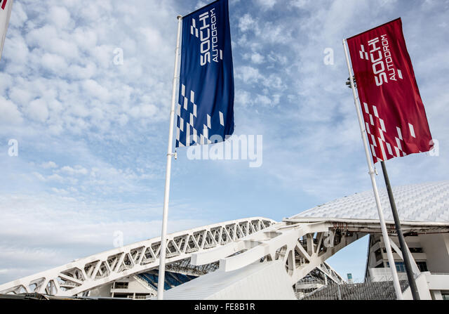 Flags in front of the Olympic stadium, Sochi - Stock Image