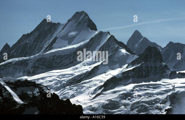 The Schreckhorn and Agassizhorn near Grindelwald, Bernese Oberland, Switzerland - Stock Image
