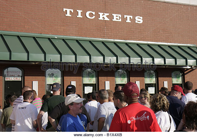 Arkansas North Little Rock Dickey Stephens Park minor league baseball Arkansas Travelers stadium ticket window lines - Stock Image