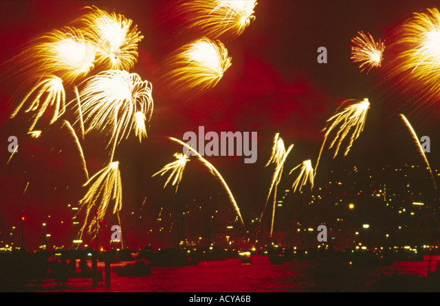 Firework at night dark sky  - Stock Image