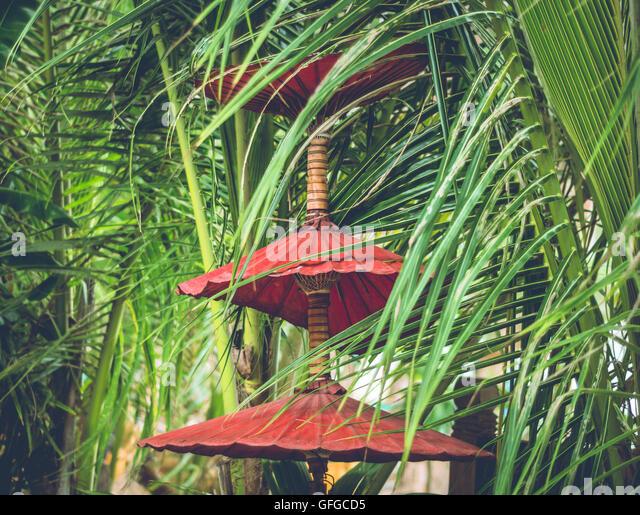 Decorative Red Umbrellas in Thailand. - Stock Image