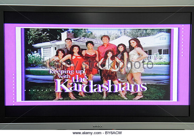 Miami Beach Florida television TV flat panel screen monitor cable channel Kardashians - Stock Image