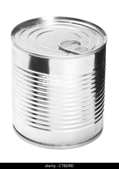Metal can for presered food on white background - Stock Image