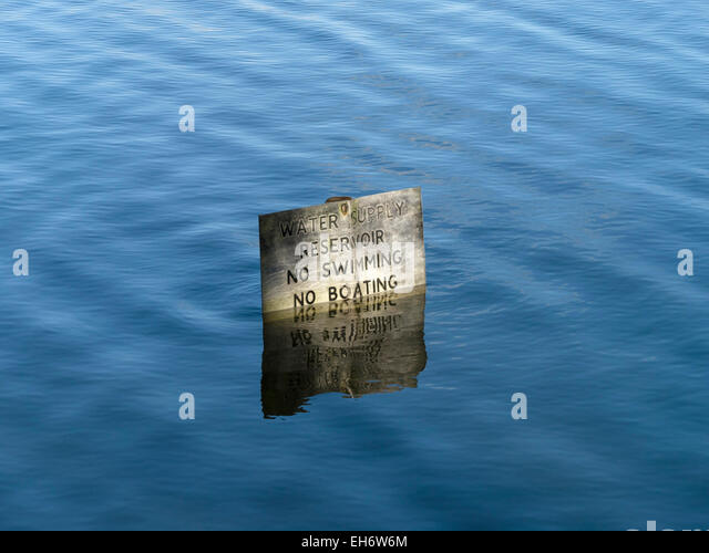 No swimming, No boating, water supply reservoir sign, Staunton Harold Reservoir, Ashby de la Zouch, Leicestershire, - Stock Image