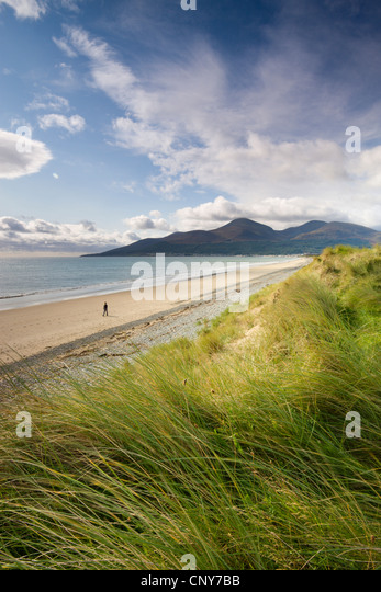 Person walking alone along Dundrum Bay, County Down, Northern Ireland - Stock-Bilder