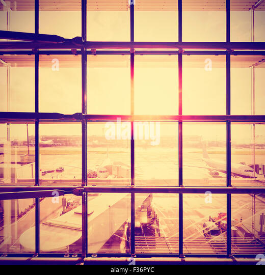 Instagram stylized picture of an airport, transportation and business travel concept. - Stock-Bilder