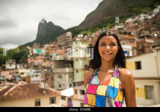 Portrait of young woman, Favela Santa Marta, Rio de Janeiro Brazil - Stock Image