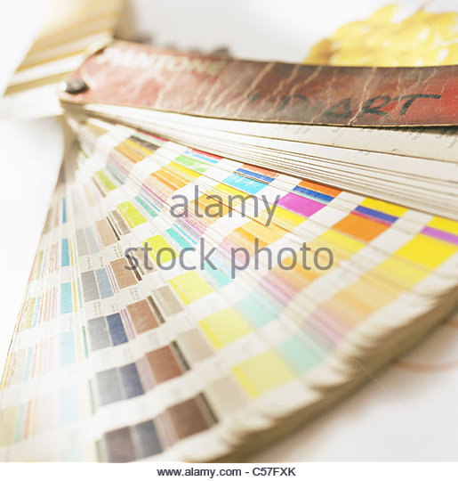 Close up of color swatches - Stock Image