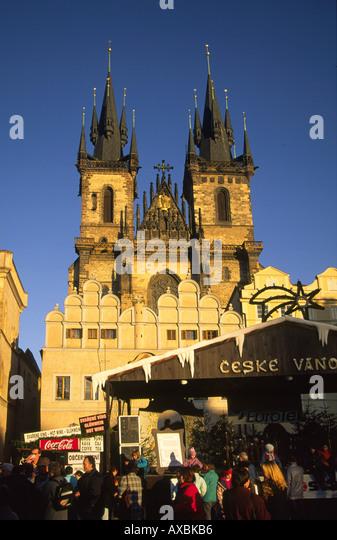 CZE Prague Teyn church christmas market - Stock Image
