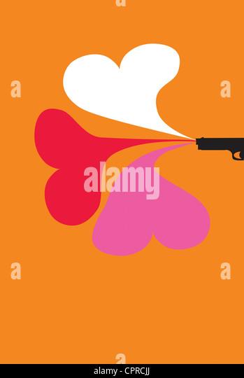Gun firing three hearts of love. - Stock-Bilder