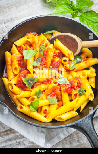 A Close Up View of Gluten Free Pasta with Homemade Tomato Sauce - Stock Image