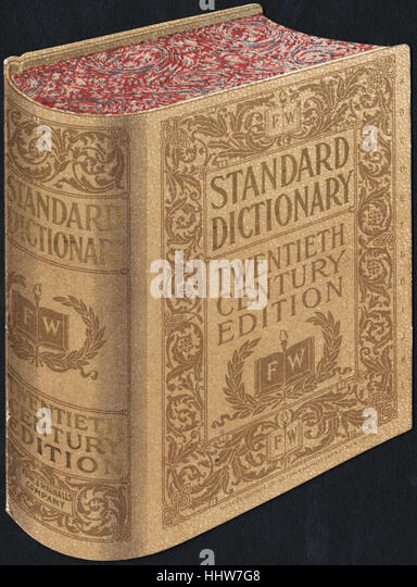 Standard Dictionary, twentieth century edition. [front]  - Leisure, Reading, and Travel Trade Cards - Stock Image
