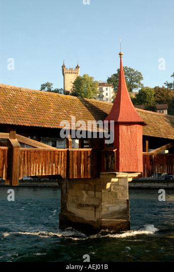 Lucerne Switzerland Mills Bridge or Speuerbrucke - Stock Image