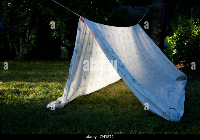 Homemade den made from sheet - Stock Image