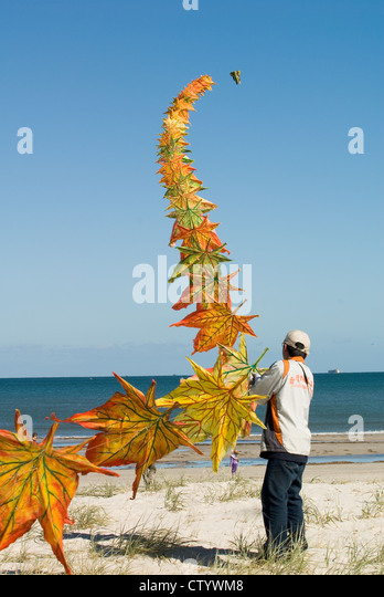 Adelaide Kite Festival held annually, Semaphore Beach, South Australia - Stock Image