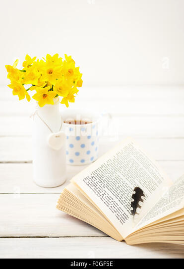 small bunch of daffodils on white table, with mug in the background and open book with woodpecker feather - Stock Image