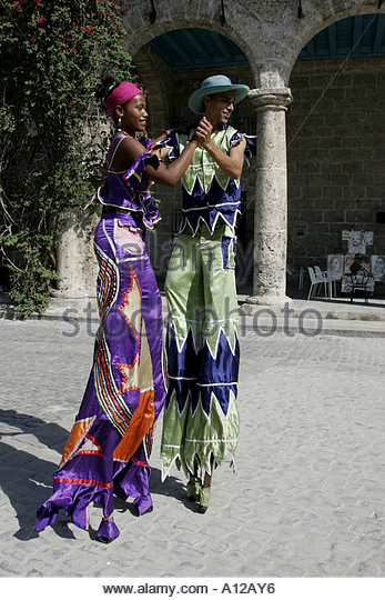Street Entertainers Plaza de la Catedral, Havana, Cuba - Stock Image