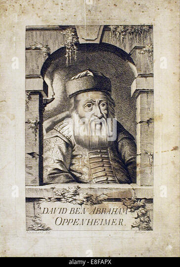 Portrait of David Oppenheim (1664-1736), chief rabbi of Prague. Artist: Balzer, Johann (1738-1799) - Stock Image