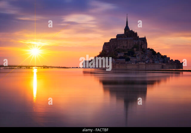 View of famous Mont-Saint-Michel at sunset, France. - Stock-Bilder