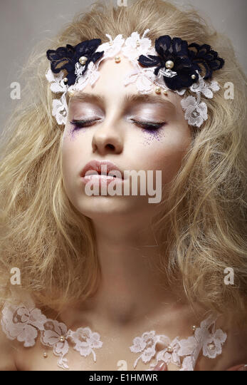 Imagination. Tranquility. Portrait Dreaming Teen Girl with Fantastic Makeup - Stock Image