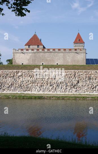 Medieval Kuressaare castle (Linnus). Island Saaremaa. Estonia - Stock Image