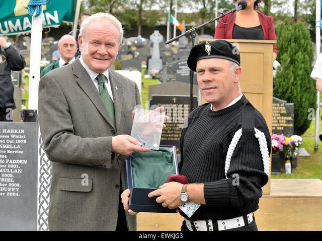 Londonderry, Northern Ireland. 28th June, 2015. Sinn Fein's Martin McGuinness makes a presentation at the annual - Stock Image