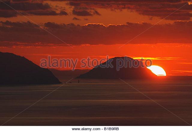 Italy, Alicudi Islands, Sunset - Stock Image