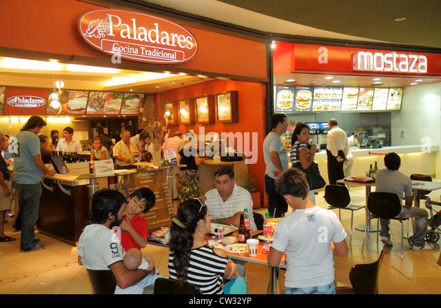 Argentina Mendoza Villa Nueva Mendoza Plaza Shopping mall business shopping center centre food court Paladares Restaurant - Stock Image