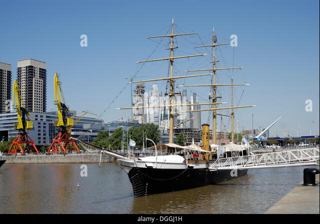 Uruguay Frigate, a museum ship in the old Puerto Madero harbor, Puerto Madero district, Buenos Aires, Argentina, - Stock Image