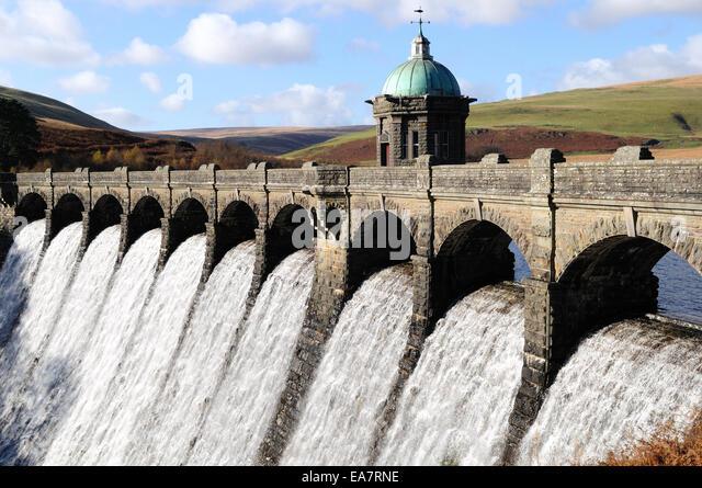 Craig Goch Dam overflowing Elan Valley Rhayader Powys Wales cymru UK GB - Stock Image